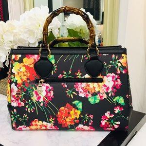 Handbags - Floral Bamboo Handle Purse With Shoulder Strap